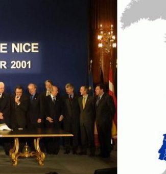 Un 26 de enero de 2001, los Quince estados miembros de la UE, firman el Tratado de Niza